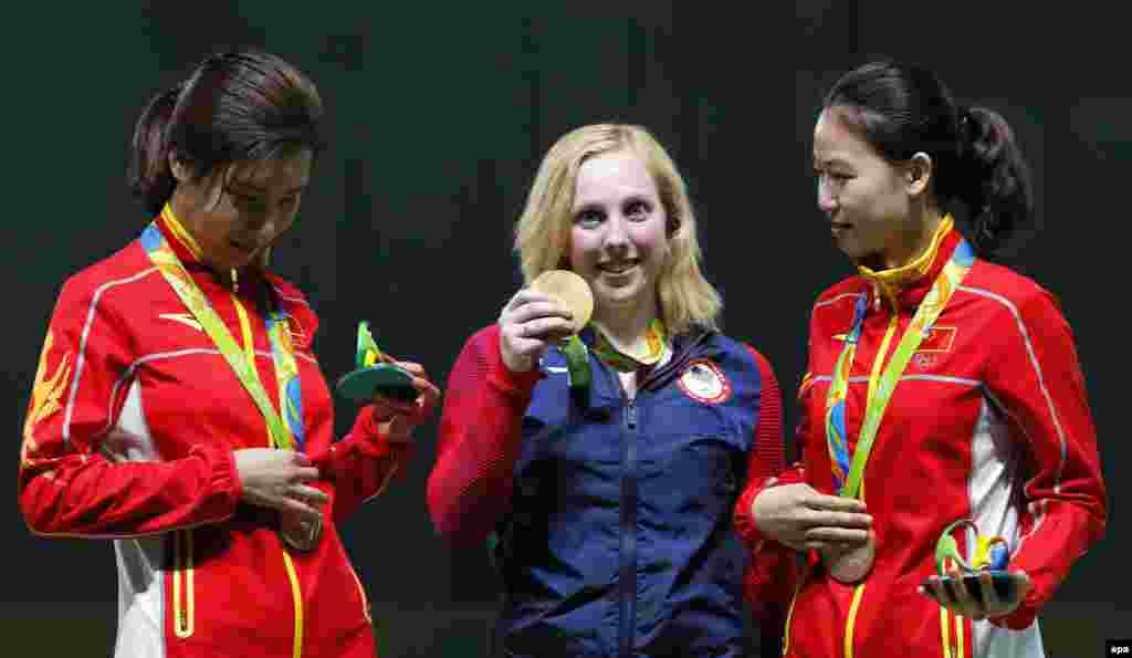 Американка Вірджинія Трешер стала першою переможницею Олімпіади-2016. Із результатом у 208 балів вона здобула перемогу у змаганнях зі стрільби з пневматичної гвинтівки з дистанції 10 метрів.Другою стала китаянка Ду Лі – 207.0. Третє місце посіла олімпійська чемпіонка Лондона в цій дисципліні китаянка І Силін –185.4