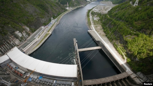 A view from the dam of the Sayano-Shushenskaya hydroelectric power station on the Yenisei River, where a turbine failure killed 75 people and crippled the facility, leaving hundreds of thousands of people without power.