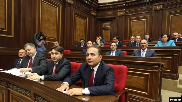 Armenia - Prime Minister Hovik Abrahamian and newly appointed members of his cabinet attend a parliament session, Yerevan, 30Apr2014.