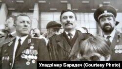 Уладзімер Барадач, Юры Захаранка і Валер Костка. Архіўнае фота.