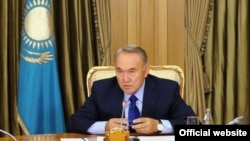 "Kazakh President Nursultan Nazarbaev makes his first appearance in Astana on July 21 after his ""holiday."""
