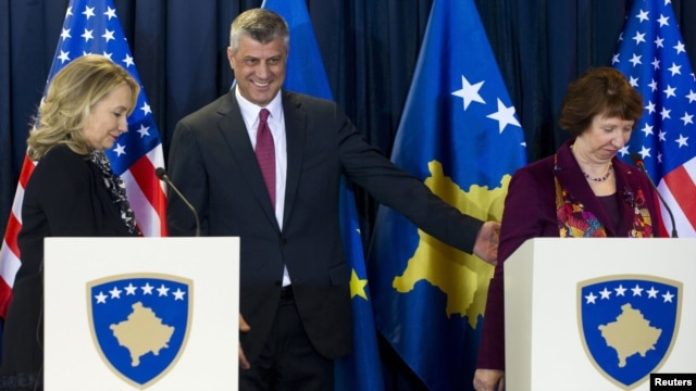 U.S. Secretary of State Hillary Clinton with Kosovar Prime Minister Hashim Thaci and EU foreign policy chief Catherine Ashton (left to right) after a news conference in Pristina on October 31.