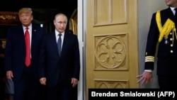 Дональд Трамп и Владимир Путин в Хельсинки 16 июля 2018 года