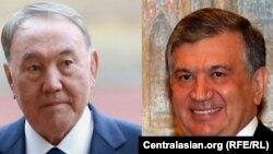 Қазақстан президенті Нұрсұлтан Назарбаев пен Өзбекстан президентінің міндетін уақытша атқарушы Шавкат Мирзияев.