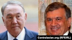 Президент Казахстана Нурсултан Назарбаев (слева) и президент Узбекистана Шавкат Мирзияев.