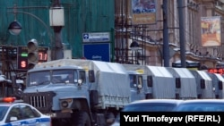 """Russia -- Police trucks near Triumfalnaya square in Moscow prior to """"Strategy - 31"""" action, 31Jan2011"""