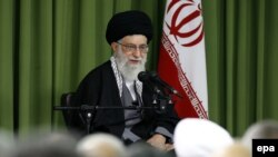 Supreme Leader Ayatollah Ali Khamenei speaks during a ceremony on the occasion of Iran's national nuclear day in Tehran on April 9, 2014.