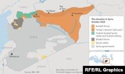 Карта на английском языке, показывающая военно-политическую ситуацию в Сирии по состоянию на 15 октября 2019 года