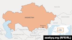 Алматы на карте Казахстана.