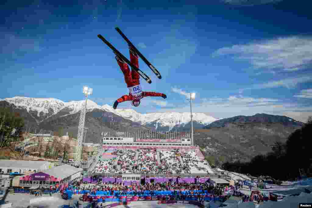 Aerial skier Aleksandra Orlova of Russia jumps during a training session.