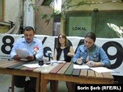 Cătălin Teniță (Geeks for Democracy), Raluca Paraschiv (Rezistența) și Diana Voicu (Inițiativa România)
