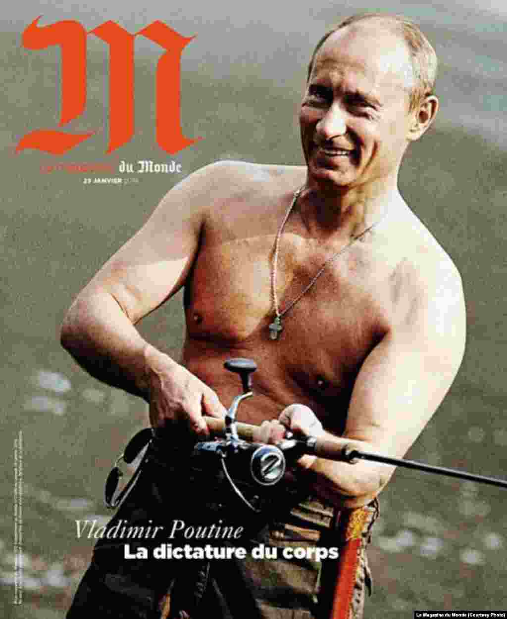 "The cover reads, ""The dictatorship of the body."" Putin has been photographed shirtless throughout his career and has carefully crafted his ultramasculine image."