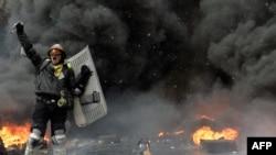 Еуроодақпен келісімді қолдаушылардың наразылық акциясы. Киев, 22 қаңтар 2014