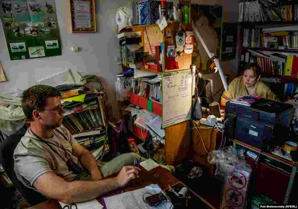 Valaam National Park employees Kirill Smyshnikov (left) and Elena Mikhaleva at the park's offices
