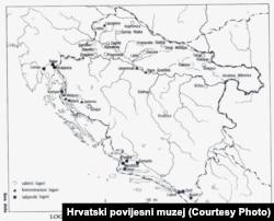 Карта концентрационных лагерей Независимого Государства Хорватия