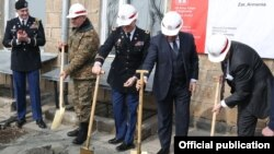 Armenia - Armenian Defense Minister Vigen Sargsian (second from right), U.S. Ambassador Richard Mills (right) inaugurate the start of the revonation of the Zar Military Training Facility, 3Mar2017.
