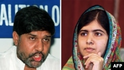 This combo of two file photos shows Kailash Satyarthi (L), Indian anti-child labour activist and head of the South Asian Coalition Against Child Servitude, and Pakistani education activist Malala Yousafzai, undated.