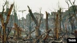 Разрушенный в1995 году российскими войсками Грозный