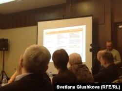Слайд с указанием компаний, которые выигрывали лоты на реализацию государственной информационной политики, показанный участникам диалоговой площадки по госфинансированию СМИ. Астана, 2 марта 2017 года.