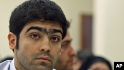 Iran -- Majid Jamali Fashi listens to judge during his trial, at the revolutionary court in Tehran, 23Aug2011