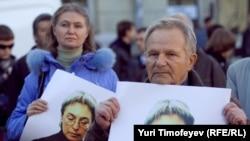 На митинге памяти Анны Политковской, 7 октября 2010 года