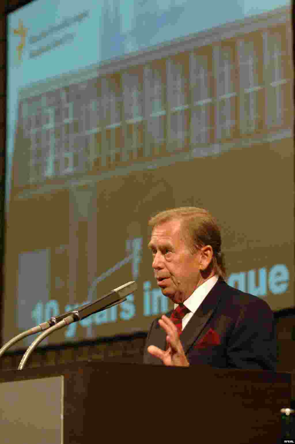 Czechoslovak President Vaclav Havel speaks at the 10th anniversary of RFE/RL's headquarters in Prague, 2005.