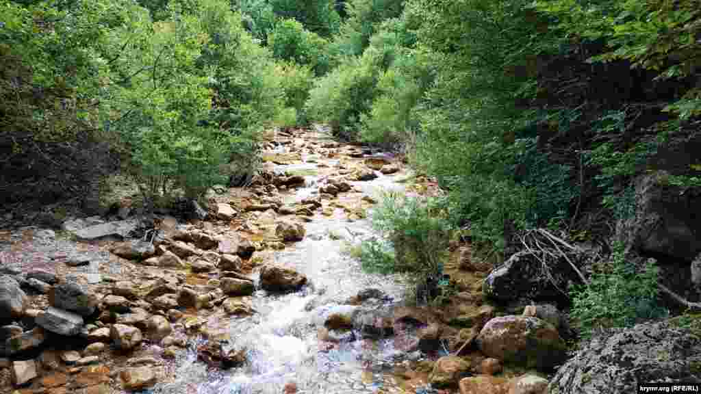 Путь пролегает через речку Коккозка
