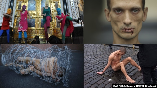 "Pussy Riot's Punk Prayer, Pyotr Pavlensky's ""Stitch,"" ""Carcass,"" and ""Nail."""
