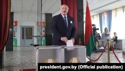 Belarusian President Alyaksandr Lukashenka casts his vote.