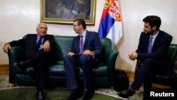 Dominik Strauss Kan sa Aleksandrom Vučićem i Lazarom Krstićem, Beograd, 17. septembar 2013.