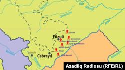 Azərbaycan Müdafiə Nazirliyinin yaydığı məlumata uyğun xəritə
