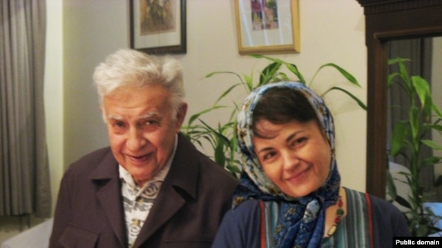 Iranian dissident Ezatollah Sahabi (left) and his daughter, Haleh Sahabi, herself an opposition activist who died today following the funeral of her father.