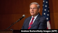 U.S. -- Senator Bob Menendez (D-NJ) gives a speech announcing he will not support Presiden's Iran nuclear deal at Seton Hall University in South Orange, New Jersey, August 18, 2015