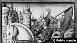 Жанна д'Арк. Рисунок из французского манускрипта XV век.