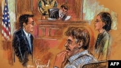A courtroom drawing shows U.S.-Iranian citizen Manssor Arbabsiar (second from right) in a New York court in October over an alleged Iranian government-directed plot to murder the Saudi Ambassador to the United States.