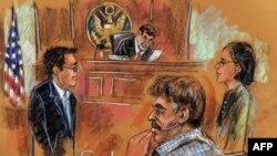 این تصویر منصور ارباب سیر به همراه وکیلش را در دادگاه فدرال نیویورک نشان می دهد.