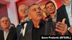 Milo Djukanovic, celebrând victoria în alegerile din octombrie 2016 la Podgorica