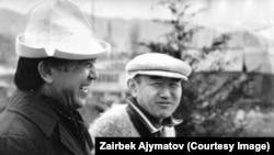 Салижан Жигитов менен жазуучу Кеңеш Жусупов.