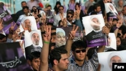 Hassan Rohani supporters in Ahvaz, Iran on June 3