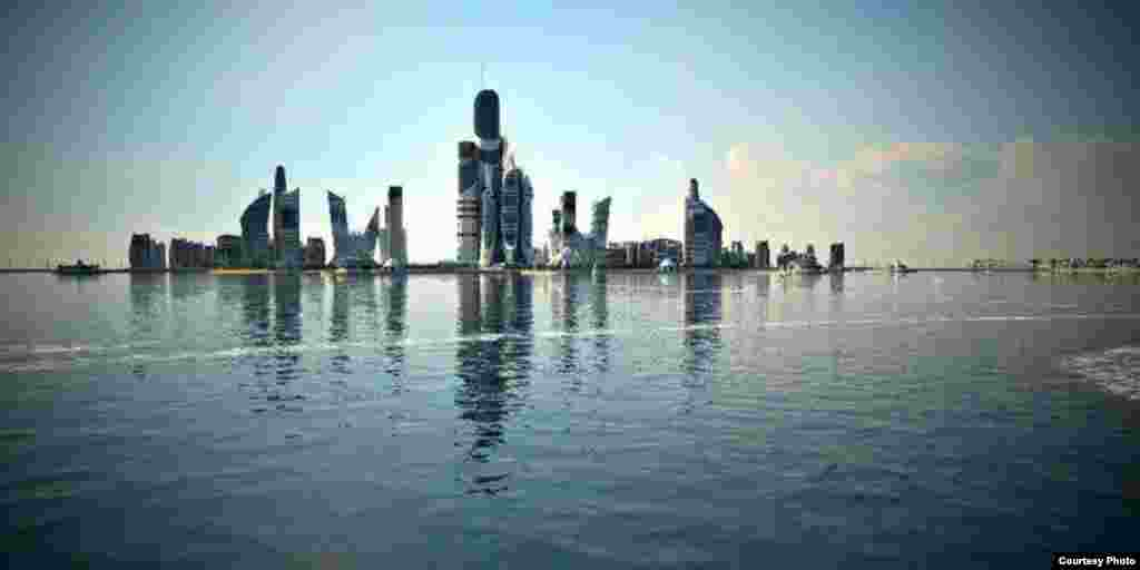 High-rise constructions will be erected on several isolated islands and some artificial ones with bridges connecting all the facilities in the Khazar Islands complex.