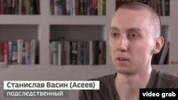 "Кадр из ""интервью"" Станислава Асеева телеканалу ""Россия 24"""