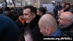 Mikheil Saakashvili Kiyevdə aksiyaçılarla
