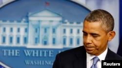 АҚШ президенті Барак Обама бюджет дағдарысы туралы мәлімдеме жасап болған сәт. 30 қыркүйек 2013 жыл