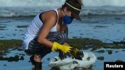 Очистка пляжа в Бразилии после разлива нефти