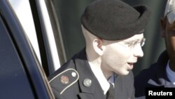 U.S. Army Private First Class Bradley Manning arrives for his court-martial at Fort Meade, Maryland, on June 4.