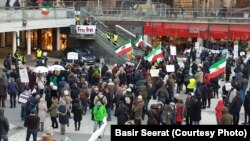 The Iranian community in Stockholm, Sweden and their Swedish supporters gathered to show their solidarity with demnstrators in Iran. January 2018.