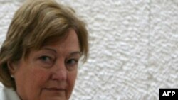 Irish Nobel laureate Mairead Maguire in the Jerusalem courtroom
