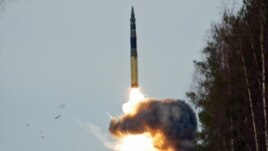 A Topol RS-12M intercontinental ballistic missile is launched from the Plesetsk base in a test in 2009.