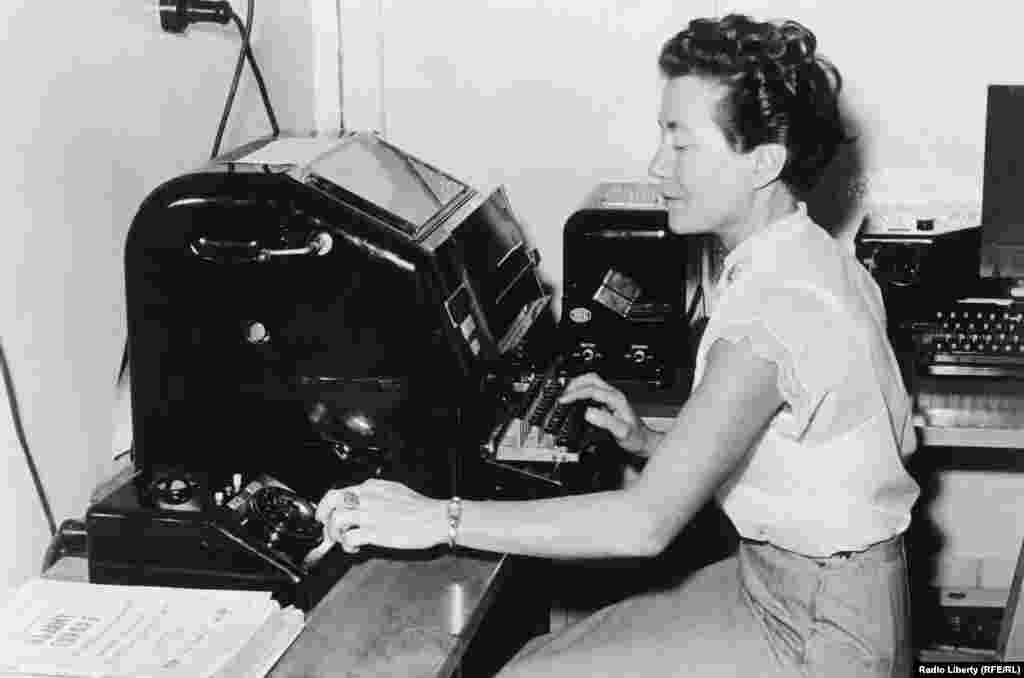 A Radio Liberty teletype operator in the 1950s.