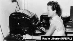 A Teletype operator at Radio Liberty in Lampertheim, Germany in the 1950s.
